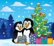 Penguin family Christmas theme 2 Royalty Free Stock Photography