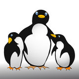 Penguin family - comic style Royalty Free Stock Photo