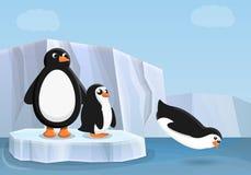 Penguin family concept banner, cartoon style vector illustration