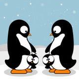 Penguin Family. Cute penguins on winter background. Winter Penguins. Cute cartoon penguins. Happy penguin family. Penguin family wishes you a Merry Christmas vector illustration