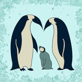Penguin family illustration Royalty Free Stock Images