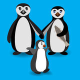 Penguin family. Love feeling. Boyfriend and Girlfriend Penguins. Antarctic birds standing and holding hands. Vector flat illustration Royalty Free Stock Photos