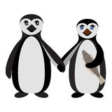 Penguin family. Love feeling. Boyfriend and Girlfriend Penguins. Antarctic birds standing and holding hands. Vector flat illustration Royalty Free Stock Photography