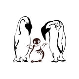 Penguin family. On a white background. The pattern of black lines, abstract vector image Stock Photos