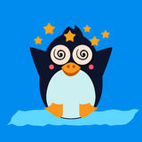 Penguin Feeling Dizzy. Vector Illustration Stock Photos