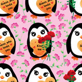 Penguin find the rose seamless pattern. This illustration is design abstract penguin find the rose flower in pink wildflower background and seamless pattern Stock Photography