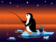 Penguin fisherman. Penguin catches fish on an ice floe Royalty Free Stock Image