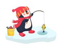 Penguin fisherman caught fish. Cartoon Fisherman and fish. Ice fishing vector Royalty Free Stock Images
