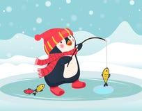 Penguin fisherman caught fish. Cartoon Fisherman and fish. Ice fishing vector Royalty Free Stock Photography