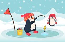 Penguin fisherman caught fish. Cartoon Fisherman and fish. Ice fishing vector Royalty Free Stock Photo
