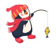 Penguin fisherman caught fish. Cartoon Fisherman and fish. Vector Stock Photos