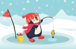 Penguin fisherman caught fish. Cartoon Fisherman and fish. Ice fishing vector Stock Photos
