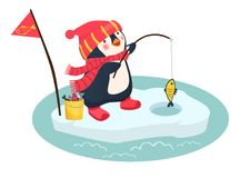 Penguin fisherman caught fish. Cartoon Fisherman and fish. Ice fishing vector Stock Images