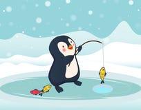 Penguin fisherman caught fish. Cartoon Fisherman and fish. Ice fishing vector Royalty Free Stock Image