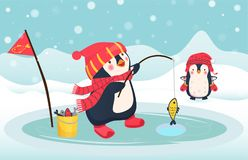 Penguin fisherman caught fish. Cartoon Fisherman and fish. Ice fishing vector Stock Photo
