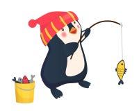 Penguin fisherman caught fish. Cartoon Fisherman and fish. Vector Stock Images