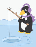Penguin Fishing on the Ice Royalty Free Stock Photos