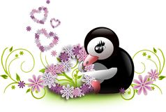 Penguin with floral hearts Royalty Free Stock Photos