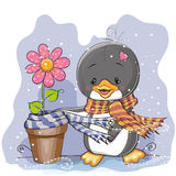 Penguin and a flower Stock Photo