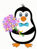 Penguin with flowers Royalty Free Stock Photos