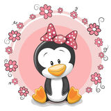 Penguin with flowers stock illustration
