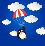 Penguin flying on parashout. Vector illustration, text can be added Royalty Free Stock Photo