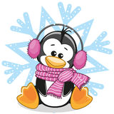 Penguin in a fur headphones. On the background of snowflake royalty free illustration