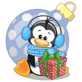 Penguin in a fur headphones. With gift Stock Photography