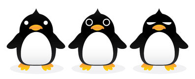 Penguin gang. Standing, cartoon cute, graphic vector Royalty Free Stock Images