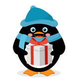 Penguin with gift box Royalty Free Stock Photo