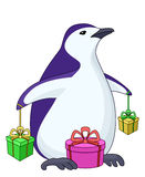 Penguin with gift boxes Royalty Free Stock Photography