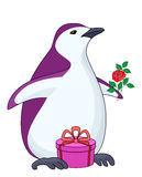 Penguin with gift and rose Stock Photos