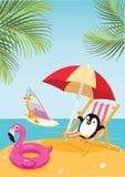 Penguin and giraffe in the tropics. Vector summer illustration. vector illustration