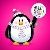 Penguin girl in Christmas with candy. Pink Stock Photography