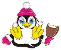 Penguin girl in hat hold an ice cream. Penguin girl in gloves and hat hold a bitten ice cream in her wings vector illustration