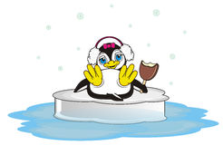 Penguin girl in headphones hold an ice cream. Cute penguin girl in pink headphones and pink bow lying on the ice and hold in her wings a bitten ice cream vector illustration