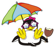 Penguin girl lying under an umbrella Stock Image