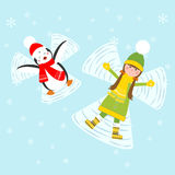 Penguin and girl making snow angels. Vector illustration Stock Photos