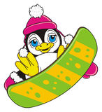 Penguin girl riding on the colorful snowboarding. Cute penguin girl in warm pink hat and gloves jumping on the snowboard stock illustration