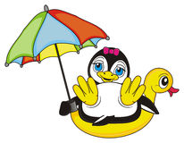 Penguin girl sitting on the inflated duck under the colorful umbrella. Smiling penguin girl hold an umbrella in her wings and lying top on the yellow inflated Royalty Free Stock Photos