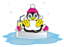 Penguin girl in warm pink hat and gloves hold a drink. Cute penguin girl in winter clothers lying on the ice and hold a cocktail with tube vector illustration