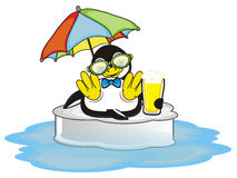 Penguin with glass of beer swimming on the ice. Trendy penguin boy with beer lying under an umbrella and sitting on the ice in ocean royalty free illustration