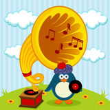 Penguin with a gramophone Royalty Free Stock Photo