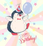 Penguin. Greeting card `Happy birthday` with a cheerful penguin. Vector illustration Stock Photos