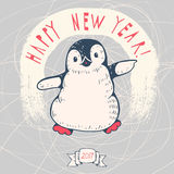 Penguin. Greeting card `happy New Year` with a cartoon penguin. Hand-drawn illustration. Vector Vector Illustration