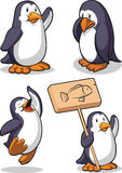 Penguin - Happy, Sad, Jumping & Holding Sign Royalty Free Stock Images