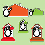 Penguin with hat near the building of the house. Collection penguin with hat near the building of the house. Illustration in the style of hand-drawn maps for royalty free illustration