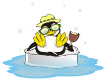 Penguin in hat is on vacation and swimming on the ice. Cool penguin in green sunglasses hold an ice cream and lying on the ice and it's a snow around him stock illustration
