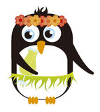 Penguin Hawaiian. Cartoon isolated over white background. vector Stock Images
