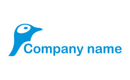 Penguin head logo. A logo that has a blue penguin head on the side of the potential company name Royalty Free Stock Image